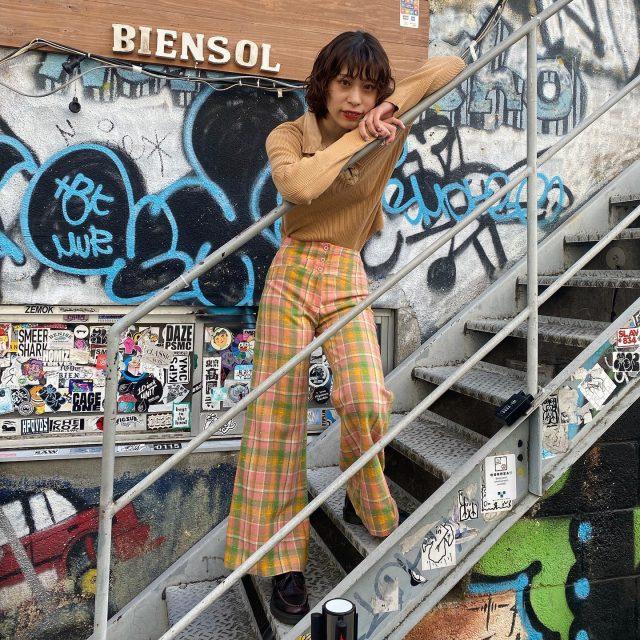 🦖🦖flare  check pants    #alaska_tokyo  #vintage #shimokitazawa