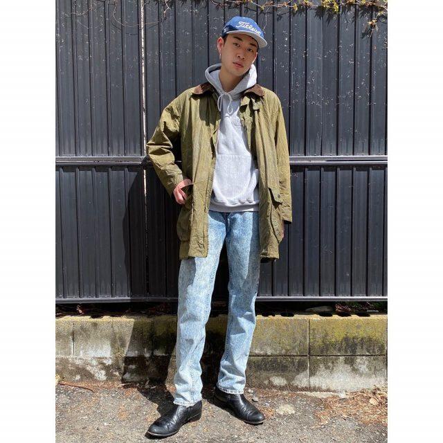 【men's】 ・Babour oiled cotton jacket ・Pullover hoodie ・Chemical denim pants Levi's 555  #alaska_tokyo #vintage #shimokitazawa #usedclothing