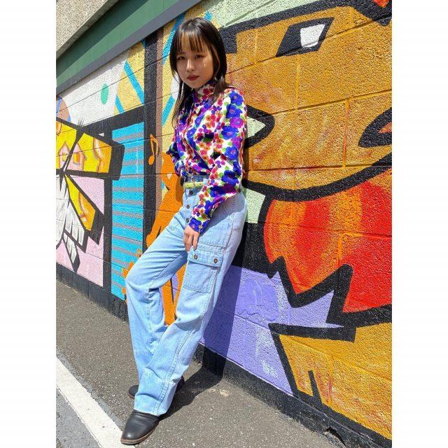 【women's】 ・polyester flower shirt ・denim flare pants  #alaska_tokyo #vintage #shimokitazawa #usedclothing