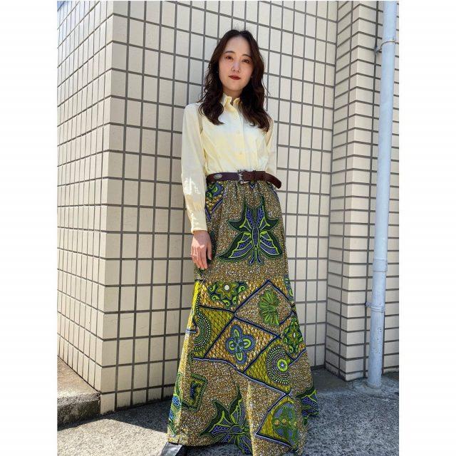 【women's】 ・cotton shirt ・leather concho belt ・African batik skirt  #alaska_tokyo #vintage #shimokitazawa #usedclothing