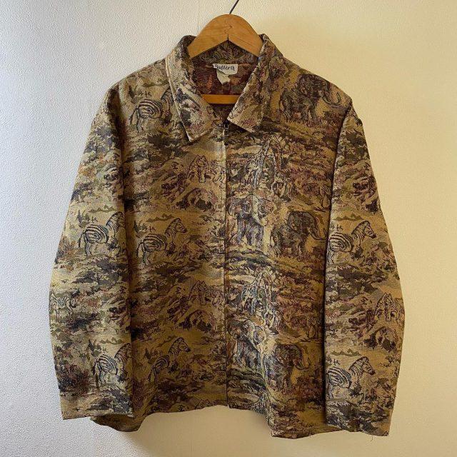 【men's】animal gobelin jacket ¥6.600-  #alaska_tokyo #vintage #shimokitazawa #usedclothing