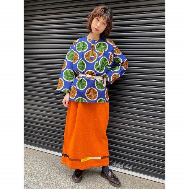 【women's】  ・batik tunic ・animal leather belt ・Afghan cotton skirt  #alaska_tokyo #vintage #shimokitazawa #usedclothing