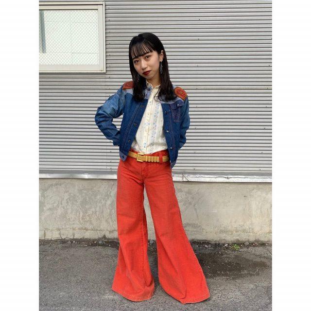【women's】 ・denim jacket ・rayon flower shirt ・bell bottom pants ・leather belt  #alaska_tokyo #vintage #shimokitazawa #usedclothing