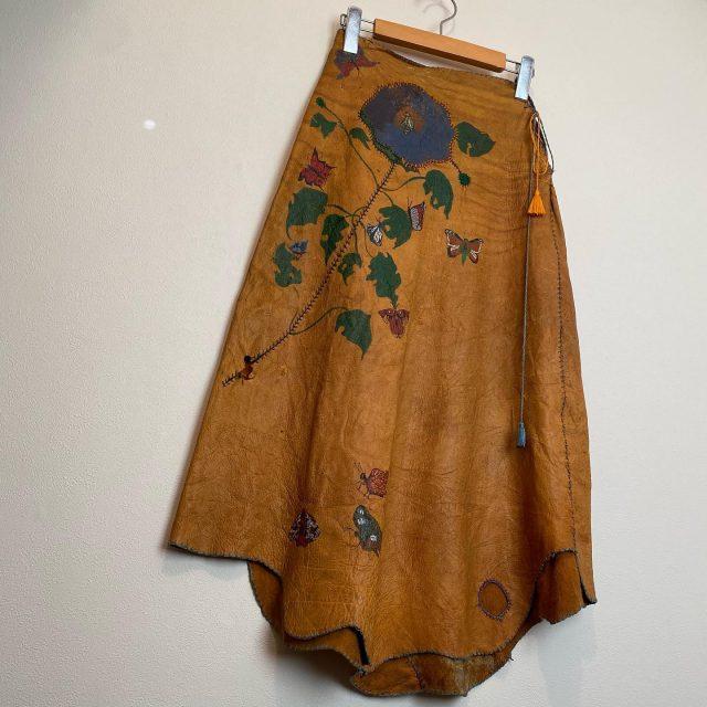 【women's】70s hand craft leather skirt ¥25,300-  #alaska_tokyo #vintage #shimokitazawa #usedclothing