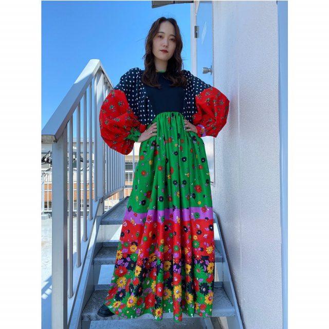 【women's】 ・balloon sleeve flower dress  #alaska_tokyo #vintage #shimokitazawa #usedclothing