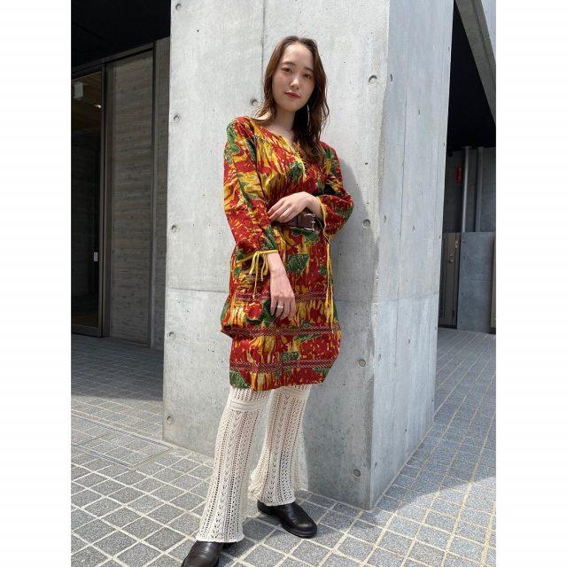 【women's】  ・batik dress ・leather concho belt ・knit lace pants  #alaska_tokyo #vintage #shimokitazawa #usedclothing