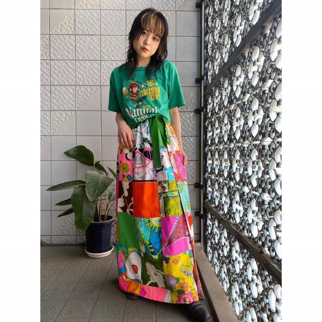 【women's】  ・natural light beer T-shirt ・patchwork wrap skirt  #alaska_tokyo #vintage #shimokitazawa #usedclothing