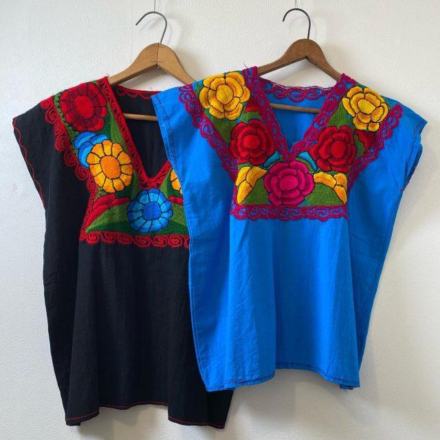 【women's】 embroidery tunic BK / ¥7,700- BLU / ¥7,700-  #alaska_tokyo #vintage #shimokitazawa #usedclothing