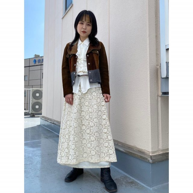 【women's】 ・suede patchwork jacket ・center frilled blouse ・lace flare skirt ・leather belt  #alaska_tokyo #vintage #shimokitazawa #usedclothing
