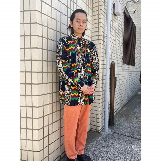 【men's】 ・african batik shirts ・L.LBEAN relax fit denim  #alaska_tokyo #vintage #shimokitazawa #usedclothing