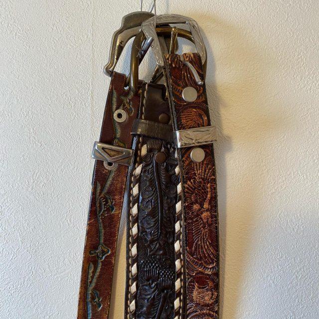 【women's】Embossed leather belt Left/¥6,050- Center/¥6,600- Right/¥6,050-  #alaska_tokyo #vintage #shimokitazawa #usedclothing