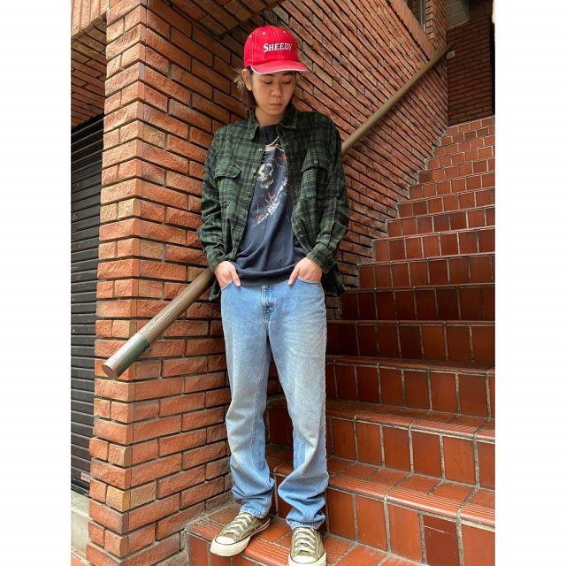 【men's】 ・Green check flannel shirts ・SHEEDY CAP ・The grim reaper T-shirts  #alaska_tokyo #vintage #shimokitazawa #usedclothing