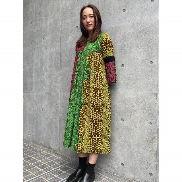 【women's】  ・flare sleeve African batik dress  #alaska_tokyo #vintage #shimokitazawa #usedclothing