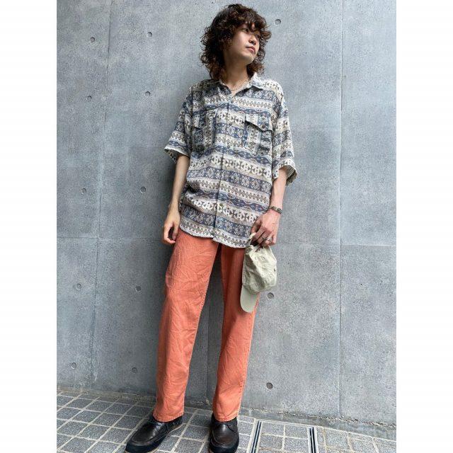 【men's】 ・pile ground patterned short sleeve shirt ・LL Bean relaxation denim pants  #alaska_tokyo #vintage #shimokitazawa #usedclothing
