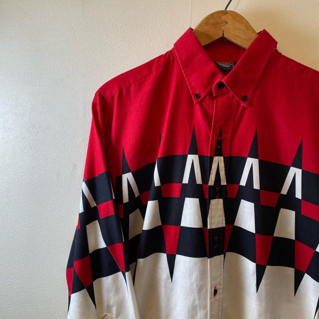 【men's】geometric pattern long sleeve shirt ¥5,500-  #alaska_tokyo #vintage #shimokitazawa #usedclothing