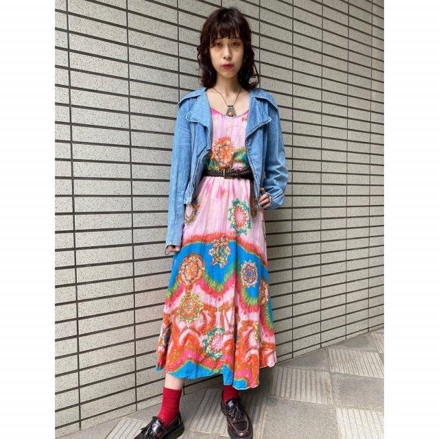 【women's】  ・denim riders jacket ・indian cotton tie-dyed dress  #alaska_tokyo #vintage #shimokitazawa #usedclothing