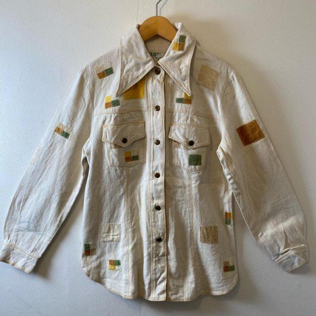 【women's】  denim patchwork shirt ¥8,800-  #alaska_tokyo #vintage #shimokitazawa #usedclothing