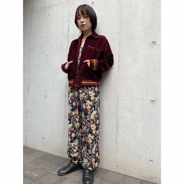 【women's】  ・corduroy stadium jacket ・rayon flower all in one  #alaska_tokyo #vintage #shimokitazawa #usedclothing