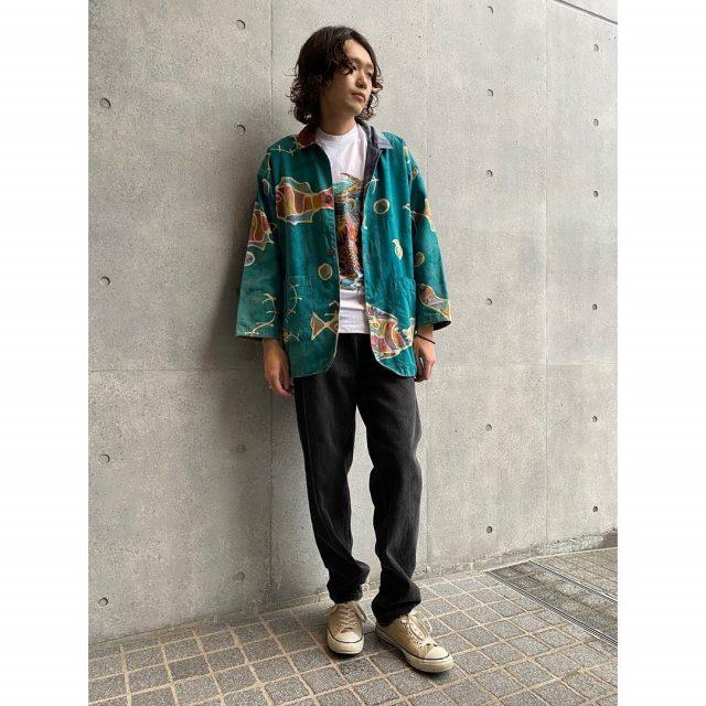 【men's】 ・Reversible fish pattern jacket ・Rainforest cafe t-shirts ・Levi's 550 denim pants #alaska_tokyo #vintage #shimokitazawa #usedclothing