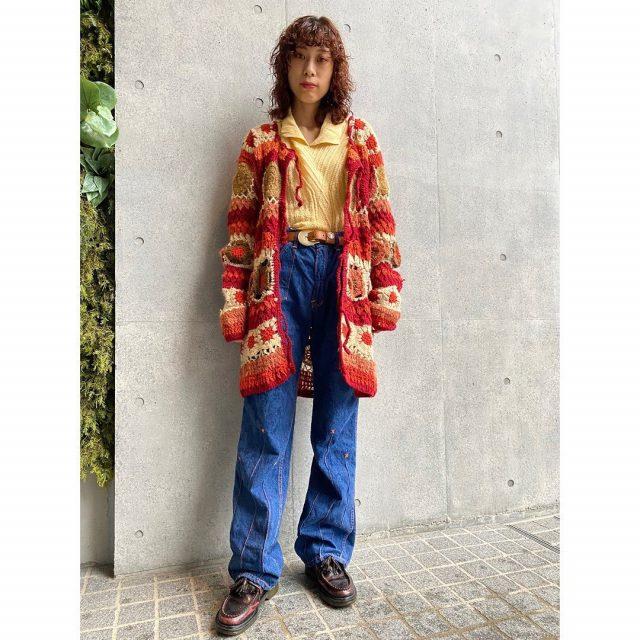 【women's】  ・granny square crochet cardigan ・cotton sweater ・embroidered flare denim pants  #alaska_tokyo #vintage #shimokitazawa #usedclothing