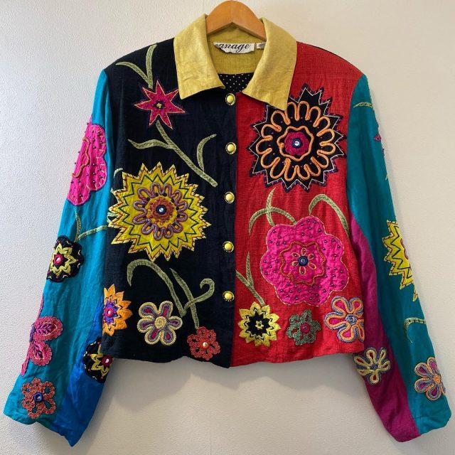 【women's】  flower embroidered patchwork jacket ¥8,800-  #alaska_tokyo #vintage #shimokitazawa #usedclothing