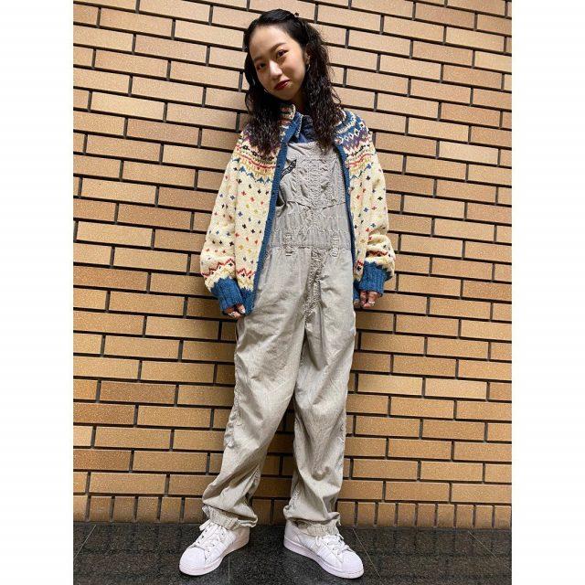 【women's】  ・Nordic wool Knit cardigan ・TOMMY HILFIGER denim long sleeve shirt ・hickory stripe  cotton overall  #alaska_tokyo #vintage #shimokitazawa #usedclothing