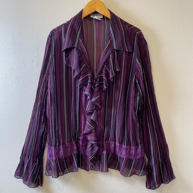 【women's】 stripe polyester frill long sleeve blouse ¥4,950-  #alaska_tokyo #vintage #shimokitazawa #usedclothing