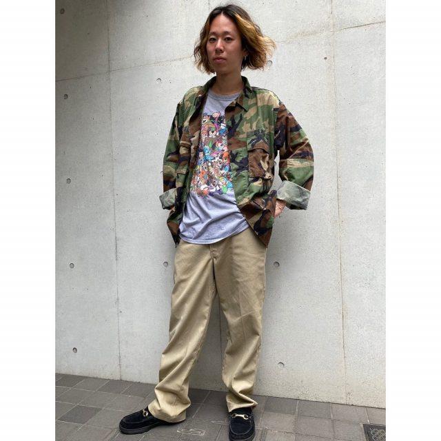 【men's】 •BDU woodland camo jacket •Hanna barbera T-shirts •dickies 874 pants  #alaska_tokyo #vintage #shimokitazawa #usedclothing